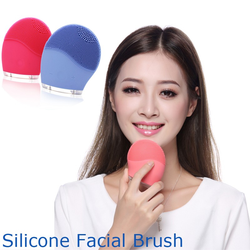 Cheap face cleansing Ionic vibration remove blackhead beauty massager rechargeable mini silicone facial brush