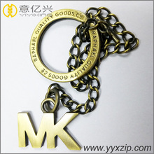 Hot sale OEM custom antique brass metal engraved logo letter key chain metal key ring blanks