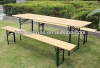 folding wooden beer garden table and bench