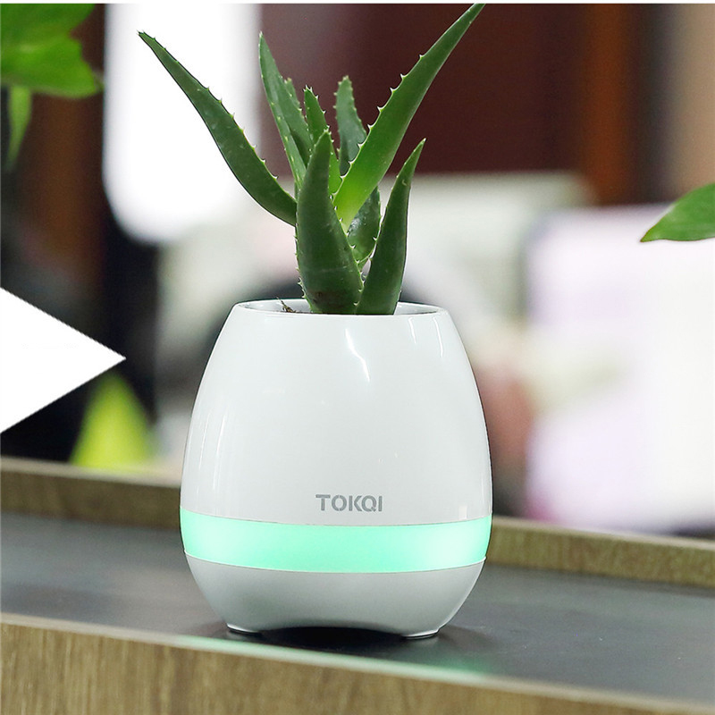 Custom Decorative Wireless Bluetooth Speaker LED Night Light Smart Music Flower Pot Flowerpot