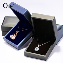 Oirlv Luxury Blue PU Jewelry Gift Boxes With Velvet Insert For Ring Pendant Necklace Earrings Black Leather Jewellery Box