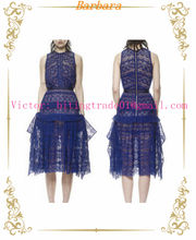 Fashion Blue Lace Maxi Dress Hot Selling In UK