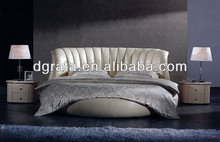 2013 special round design leather bed in solid wood frame and genuine leather to be finished for the bedroom house sets