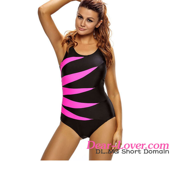 In Stock 2017 Newly Hot Rosy Splicing Color Block Black One Piece Bikini Monokini