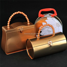 Wholesale plain tin lunch box from SZ professional packaging boxes manufacturers with copper color design with handle