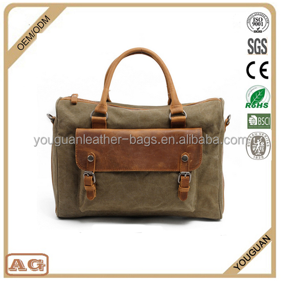 2016 hot sale stylish cheap canvas small briefcases for men with single leather tote handle