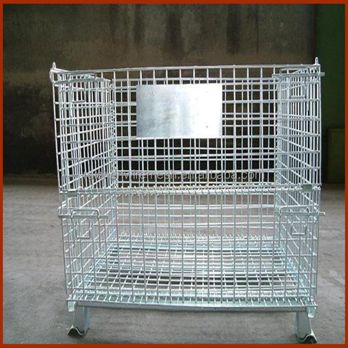 warehouse storage steel welded wire cages