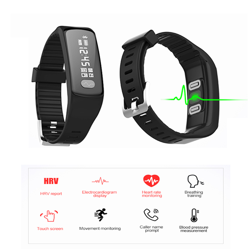 HB07 blood pressure smart bracelet with ECG HRV heart rate monitor bluetooth wristband for android and ios push messages