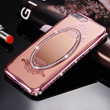 Shengo Hot Sale Bling Crystal Luxury TPU Cell Phone Case with Mirror for iPhone 7 Plus