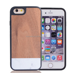 2015 Newest Natural Marble + wood +TPU case for iphone 6,for wood iphone case,for wooden iphone case factory price