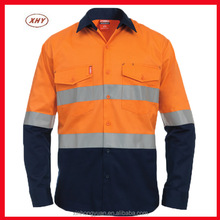 Wholesale orange fluo moisture wicking twill high visibility reflective tape long sleeve shirts