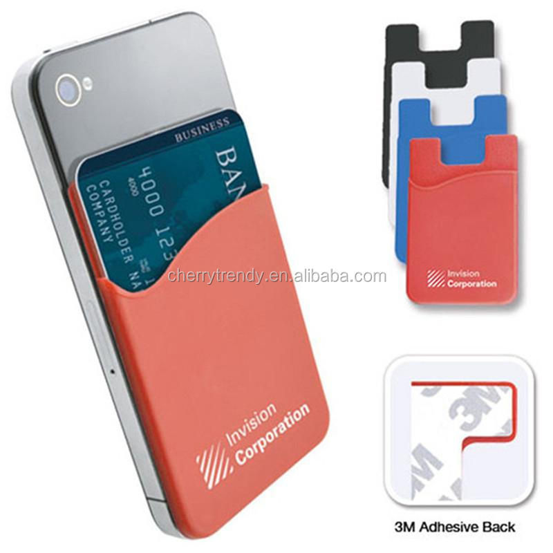 Silicone Rubber Credit Mobile Phone Card Holder With 3M