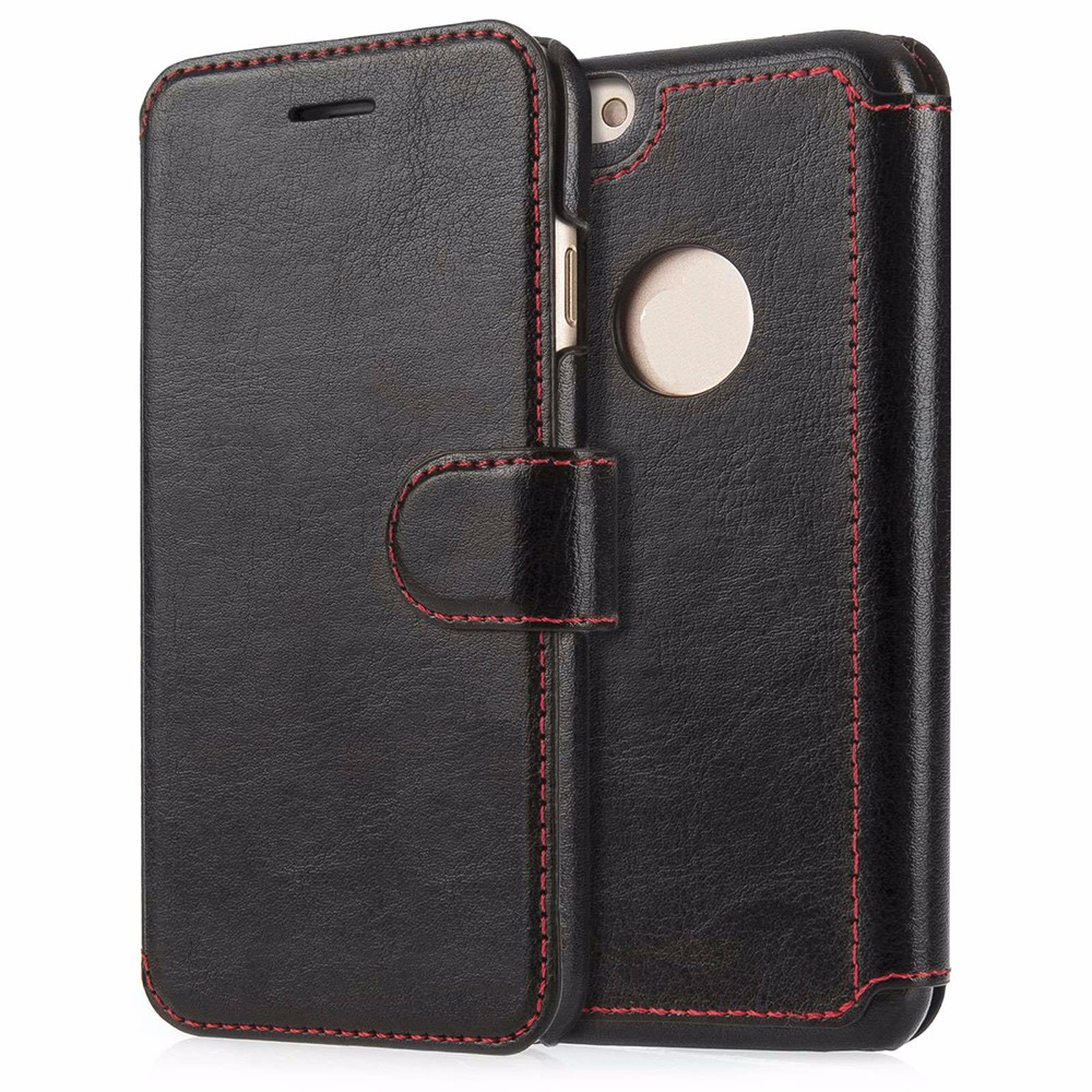 Book Style Premium Leather Cover for iPhone Cow Leather Case