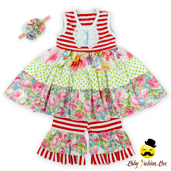 Wholesale Children's Boutique Clothing Floral Printed Lovely Teen Girls Clothing Sets