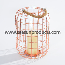 2017 new decorative metal lantern for candle with rope handle