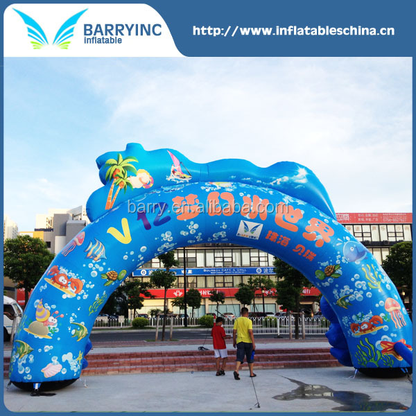 China factory price blue commercial giant see world inflatable arch with logo printing