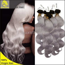 Cheap price and discount price hair grade 8A Most popular grey hair wefts,grey remy human hair weave,grey hair mens toupee