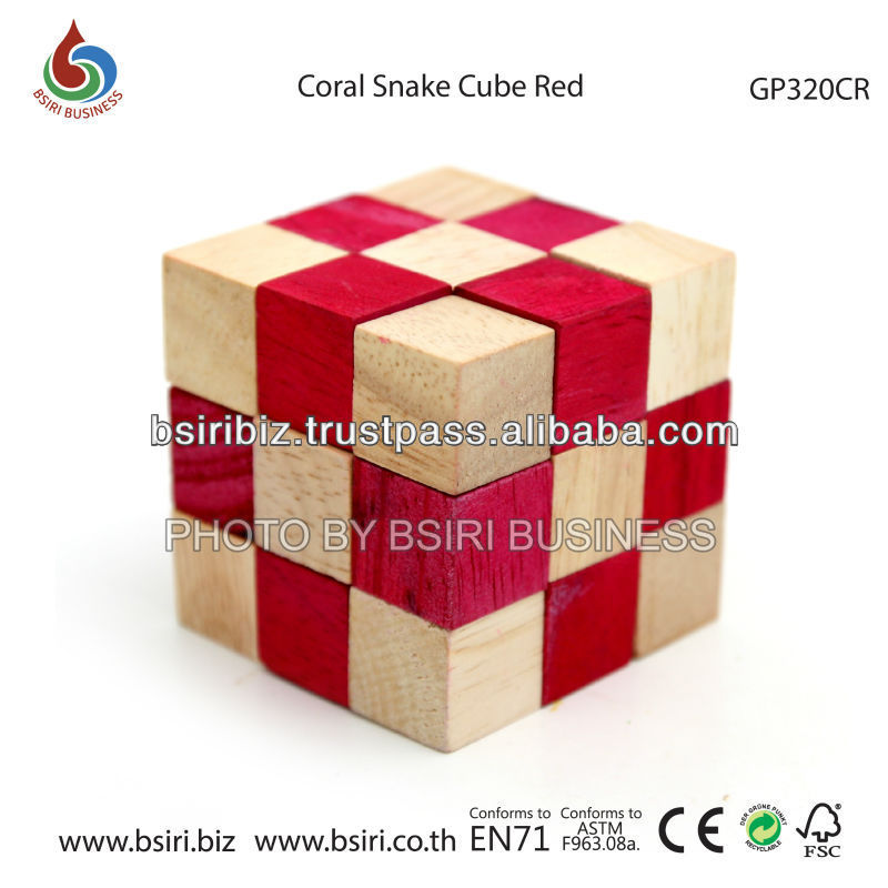 wooden puzzle Coral Snake Cube Red
