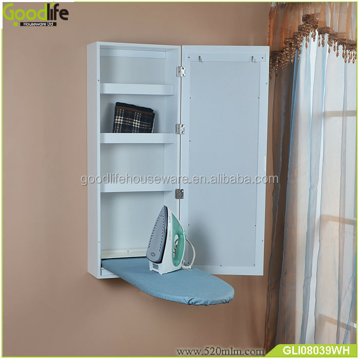 Space saving wall mounted folding ironing board