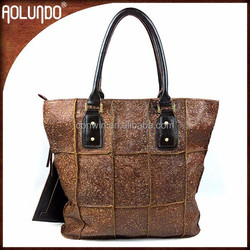 Womens coffee embossed genuine leather trendy big tote bags printed