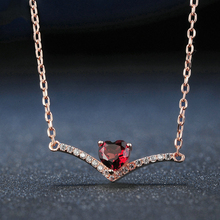 Elegent Women Jewelry Rose Gold 4mm Natural Heart Red Garnet 925 Sterling Silver Chain Pendant