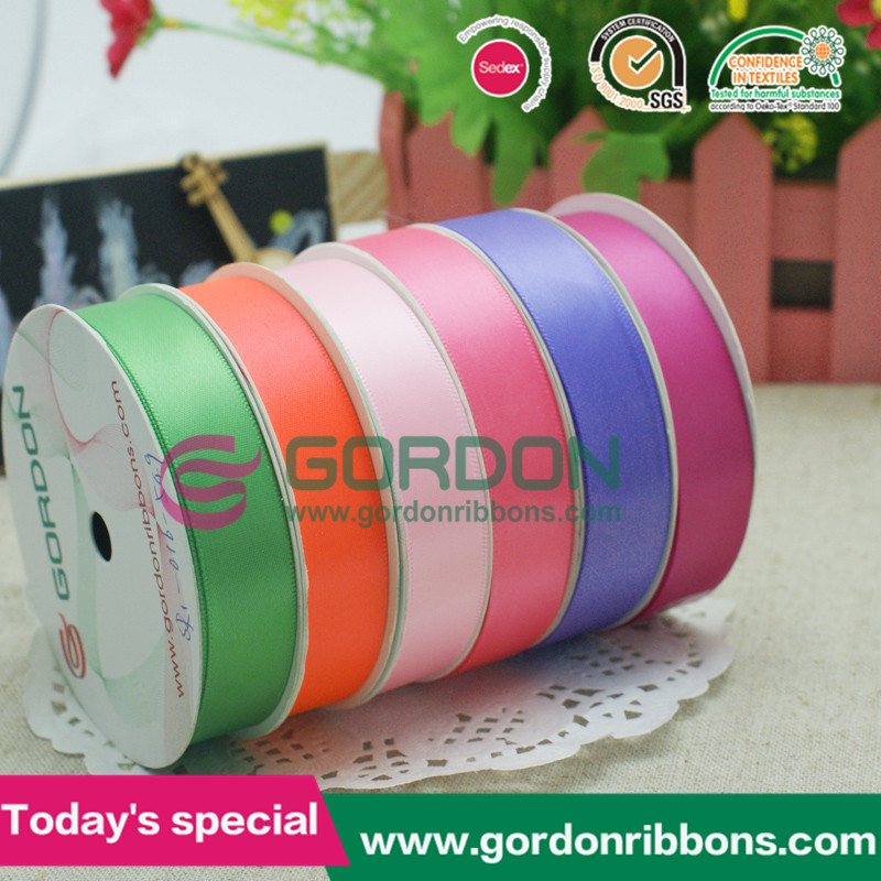 2016 25mm colorful double faced polyester satin ribbon
