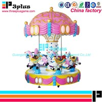 Amusement kids rides indoor outdoor playground merry-go-round 6 people small carousel for sale