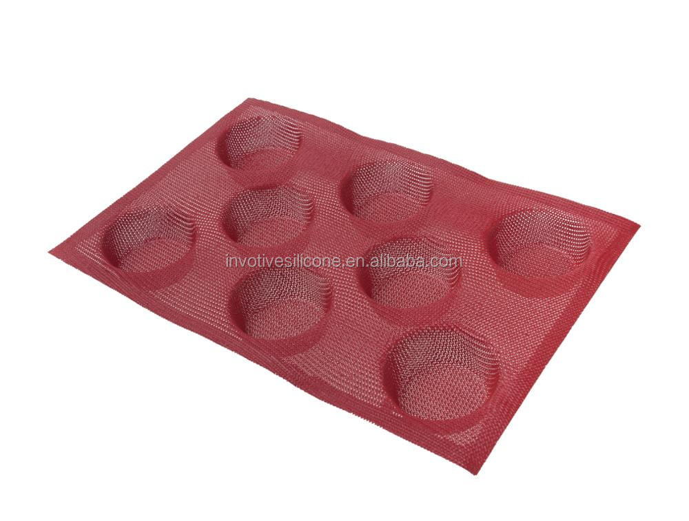 Non Stick Silicone Baking Molds Perforated Bun Bread Forms Round Shapes