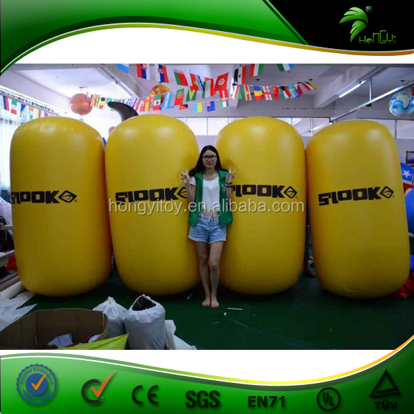 Advertising Inflatable Buoys / Cheap Yellow Inflatable Buoys Cylinder Shape / Advertising Water Buoy Floating Buoy Balloon