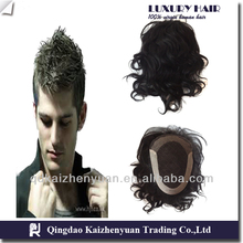Undistinguishable India remy PU Injection Hairpiece Toupee
