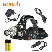 High Powerful RJ3000 3 x Cree XML T6 5000 Lumen Boruit Headlamp