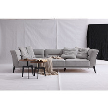 Cheap Price Light Grey Fabric 3 Seats Chesterfield Sofa Set With Wooden Legs