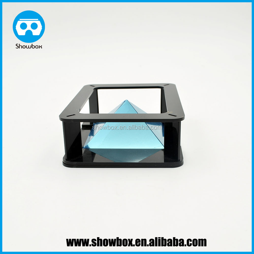 Mini 360 angle 3D holographic projector pyramid display box 3D showcase for smarphone