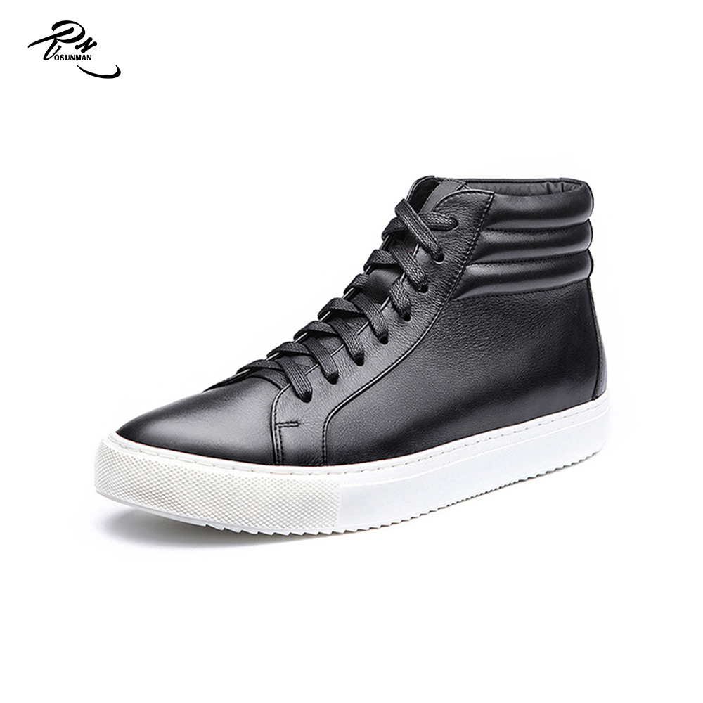 High cut men fashion leather casual shoes custom design skate sneaker shoe 2016