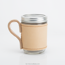 Cow Leather Mason Jar Holder Custom Cup Sleeve