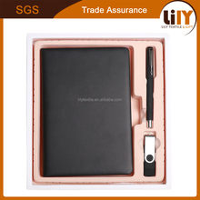 hard cover notebook with pen and u-disk gift set for custom logo