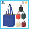 Shock-resistant fashion colorful promotional non woven 6 bottle wine tote bags