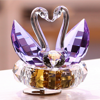 Factory Price Crystal Glass Swan Shape Crystal Music Box