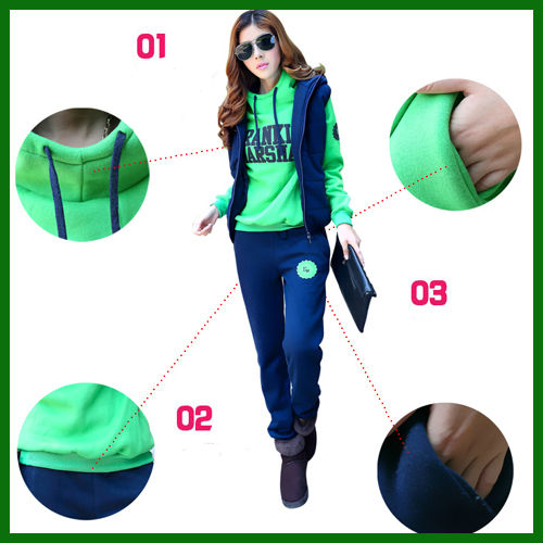 N12024 free shipping autumn winter leisure hoodies sets three-piece women sweater suits