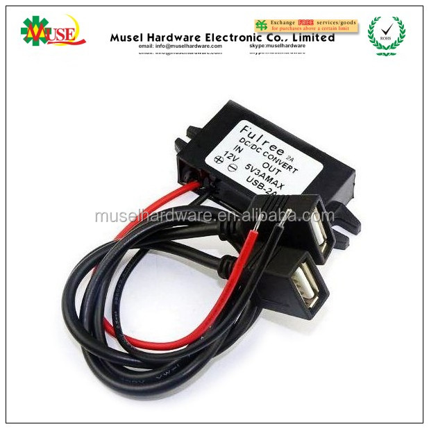 Overcurrent Protection and Short-Circuit Protection 5V 3A DC/DC Converter, Dual USB Car Phone Charger, Car Buck Power Converter
