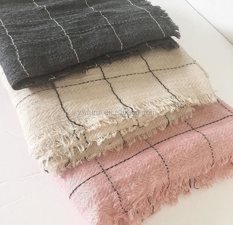 New Fashion Solid Color Cotton Blend Plaid Hijab Muslim Long Shawls Scarf Winter Scarves