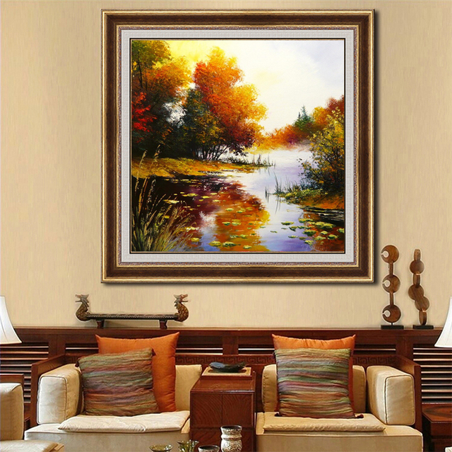 beautiful natural scenery oil painting on canvas wall art picture hand paint guangzhou factory directly wholesale oil painting