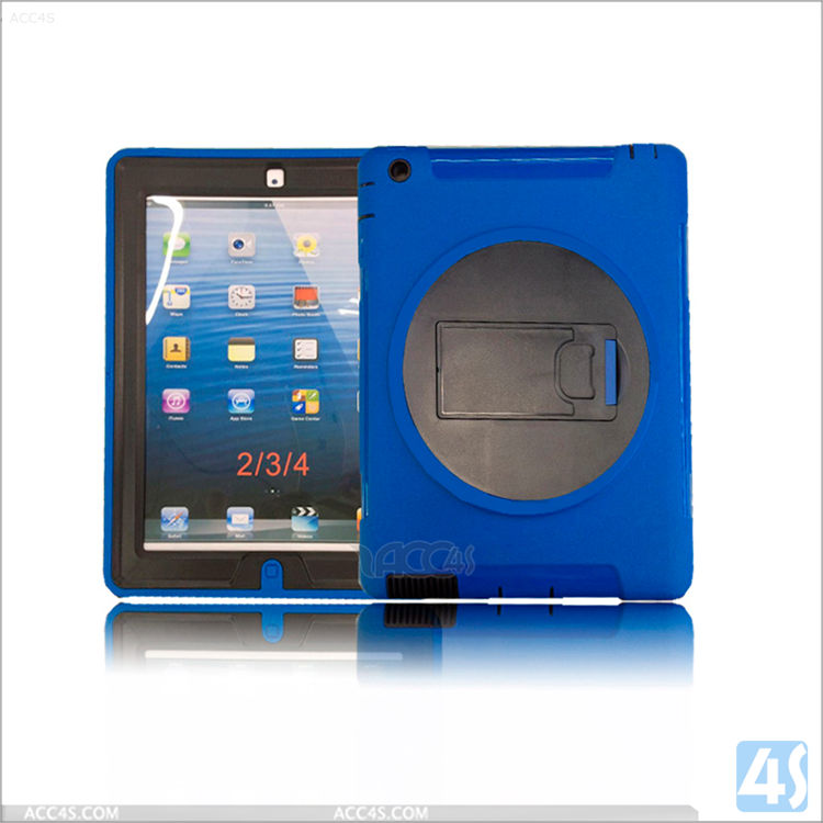 Waterproof tablet case for iPad 4,360 Rotation Anti Shock Kick Stand Case for iPad 4 3 2 ,flip cover case for tablet