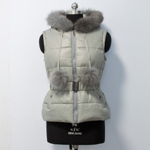 New Style Women Kids Down Vest With Fox Fur Hood