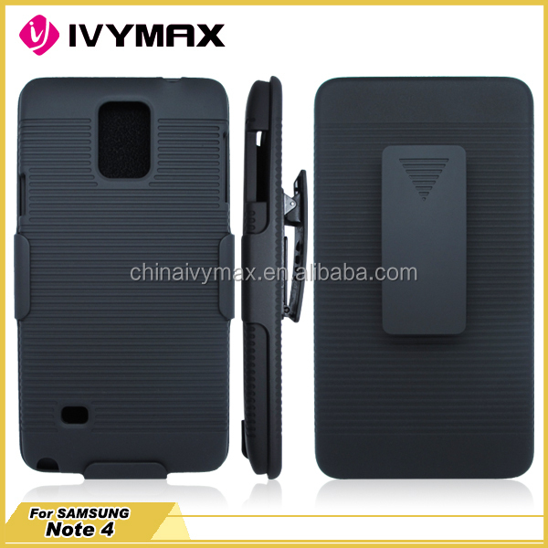 Plastic holster combo case for Samsung Note 4 new listing mobile phone covers