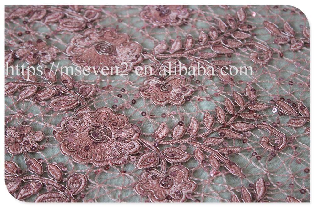 Hot selling polyester allover flowers water soluble sequin lace fabric for sale