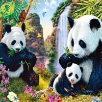 factory selling without frame panda and bamboo full drilled diamond painting