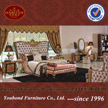 0061 Italian luxury bedroom set, neo-classic carving by hand solid wood bedroom furniture