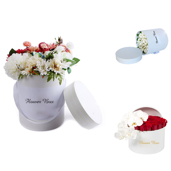 Waterproof recyclable round cardboard boxes luxury round hat box for flowers