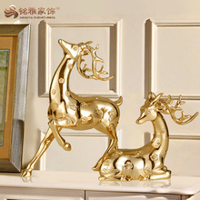 Wholesale decorative resin gold deer figurines for christmas ornament